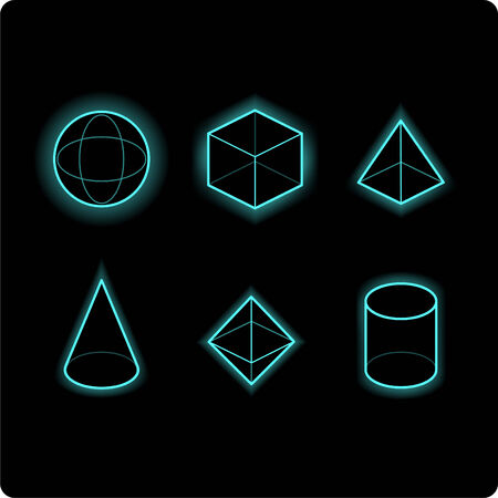 geometric shapes neon icon illustrations