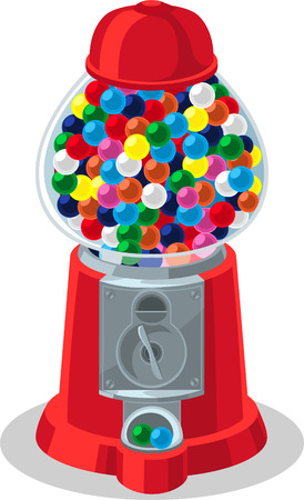 indulgence: Multicolored full Gumball Machine.