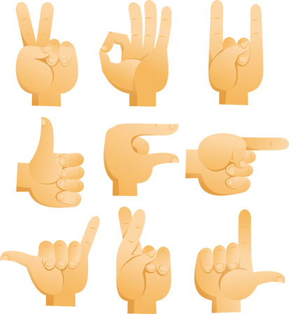 Cartoon Hand signs with sign of peace, ok sign, rock sign, luck finger sign, pointing hand, good sign. Vector illustration cartoon.