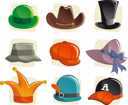 Cartoon hats collection, with cloche, fedora, cowboy, beret, schoolboy, bucket, trilby, victorian, mini, bowler, cap, dwarf hat. Vector illustration cartoon. Illustration