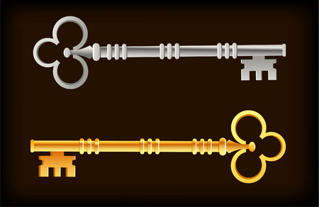 gold metal: Skeleton Keys Gold Silver vector illustration cartoon.