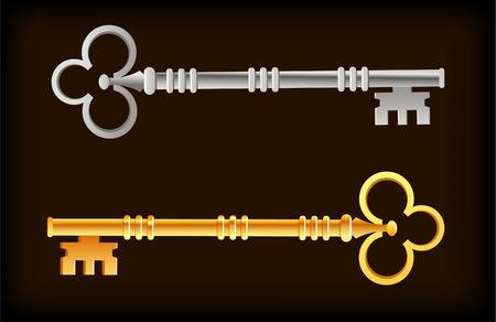 Skeleton Keys Oro Argento illustrazione vettoriale dei cartoni animati. Archivio Fotografico - 33827838
