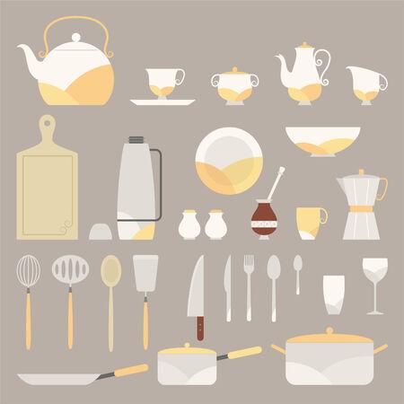 yerba mate: Fancy Equipo Cocina vector ilustraciones de dibujos animados