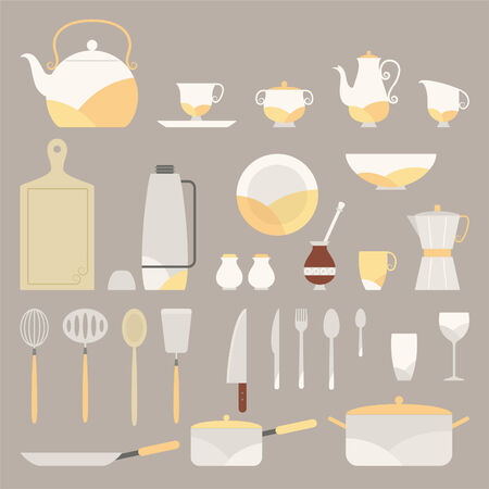 Fancy Kitchen equipment vector cartoon illustrations