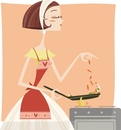 Woman cook with a frying pan Vector