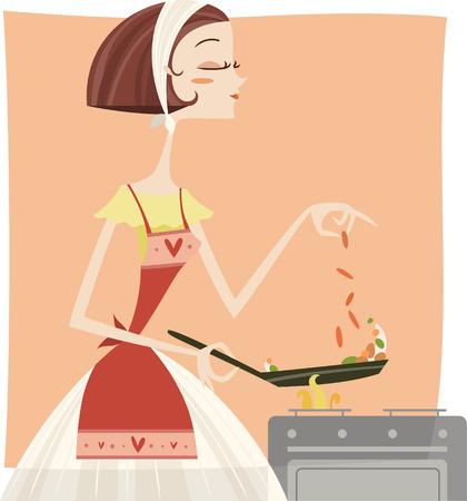 Woman cook with a frying pan Ilustração