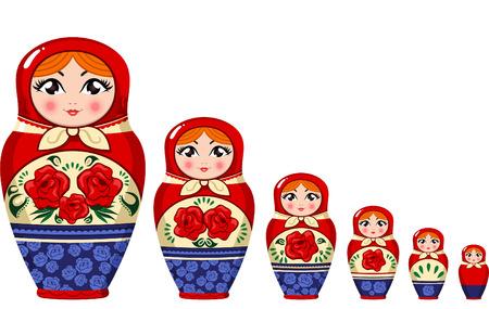 decreasing in size: Matryoshka bambola russa nidificazione set bambola illustrazione vettoriale. Vettoriali