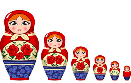 Matryoshka doll Russian nesting doll set vector illustration.