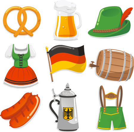 swiss culture: Oktoberfest Design Elements Icons, with pretzel, beer chop, Tyrolean hat with feather, Short waitress dress, German Flag, Beer barrel, sausage, waiter cloth vector illustration icons.