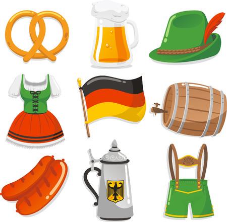 german sausage: Oktoberfest Design Elements Icons, with pretzel, beer chop, Tyrolean hat with feather, Short waitress dress, German Flag, Beer barrel, sausage, waiter cloth vector illustration icons.