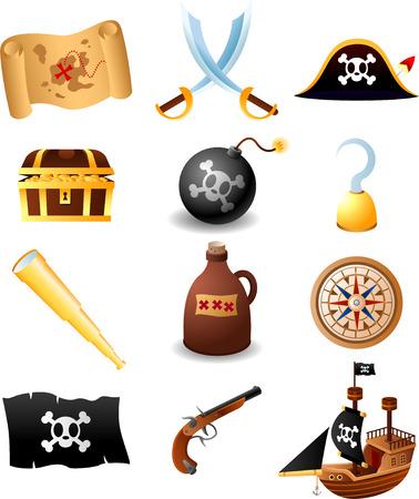 cofre del tesoro: Ilustraciones del pirata set, con mapa, espadas, sombrero de pirata con el cr�neo, caso del tesoro con monedas de oro, gancho, gancho de la mano, binocular, botella, br�jula, bandera, arma, barco. Ilustraci�n vectorial de dibujos animados. Vectores