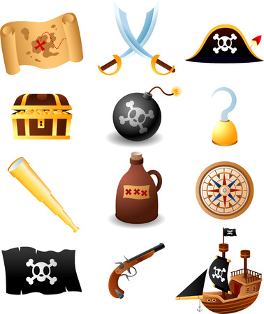 pirate crew: Pirate icons Set, with Map, spades, pirate hat with skull, treasure case with golden coins, hook, hand hook, binocular, bottle, compass, flag, gun, ship. Vector illustration cartoon.