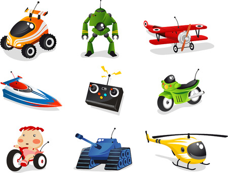 Pilot kolekcji zabawek, obejmuje samochód, łódź, samolot, helikopter, robota i wiele innych.