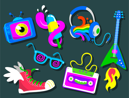 Set of cool retroset vector cartoon icons