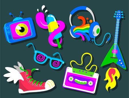 Set of cool retroset vector cartoon icons