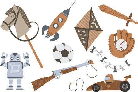 Vintage Wooden Toys Horse Rocket Kite Sword Shotgun Robot Car, vector illustration cartoon.