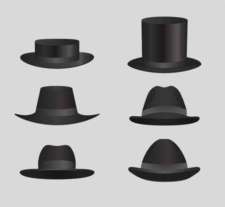 derby hats: Classic Black top hat Derby Hats and capsClassic Black top hat Derby Hats and caps vector illustration.