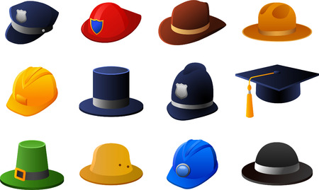 graduacion caricatura: Sombreros y Cascos de colección, con sombrero de policía, bombero sombrero, sombrero de sheriff, sombrero de vaquero, sombrero de trabajo, sombrero de copa, sombrero de policía británico, sombrero de graduación, sombrero irlandés, sombrero hongo. Ilustración vectorial de dibujos animados.