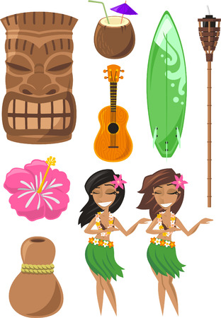 tiki: Hawaiian, Hawaii Set with tiki, tiki god, hula dancer, board, surf board, ukelele, coconut. Vector illustration cartoon.