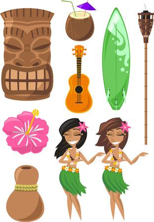 Hawaiian, Hawaii Set with tiki, tiki god, hula dancer, board, surf board, ukelele, coconut. Vector illustration cartoon.
