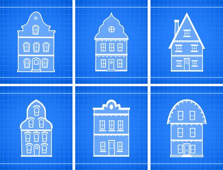 House blueprint icons vector illustration.