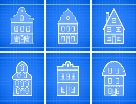 front or back yard: House blueprint icons vector illustration.