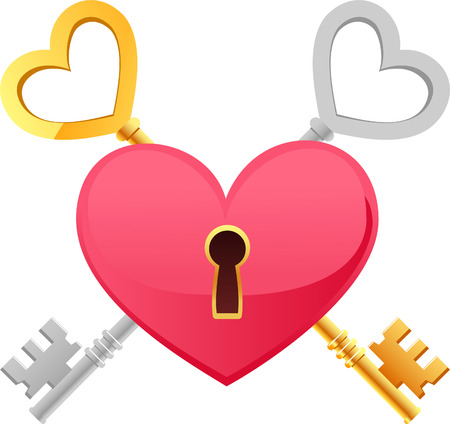 Skeleton Keys Gold Silver Heart Shape with keypath. The key to my heart vector illustration cartoon. Vector