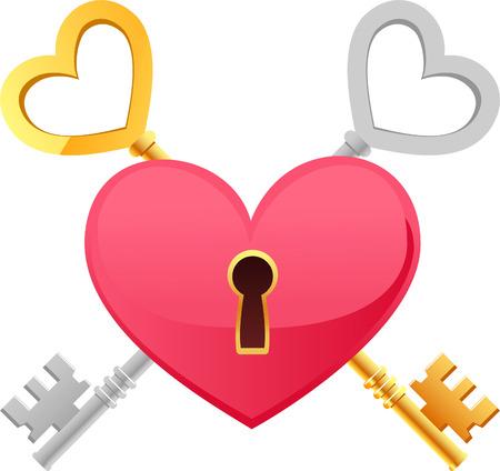 token: Skeleton Keys Gold Silver Heart Shape with keypath. The key to my heart vector illustration cartoon. Illustration