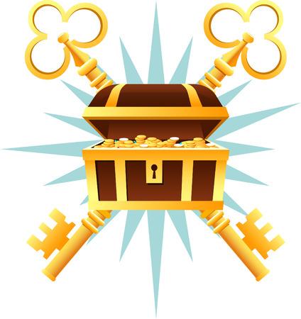황금 동전 및 키 벡터 일러스트 레이 션 만화와 보물 상자 관. 일러스트