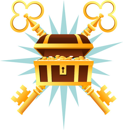 cofre del tesoro: Ataúd Cofre del tesoro con monedas de oro y la ilustración vectorial de dibujos animados teclas.