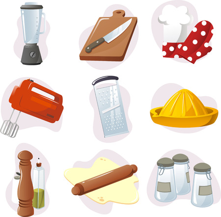 baking oven: Kitchen design elements. Illustration