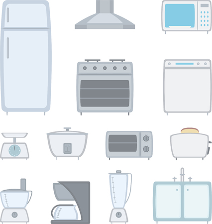 Design Elements of Kitchen equipment. Fully editable elements for general use, simply change any colour as you wish. Vector