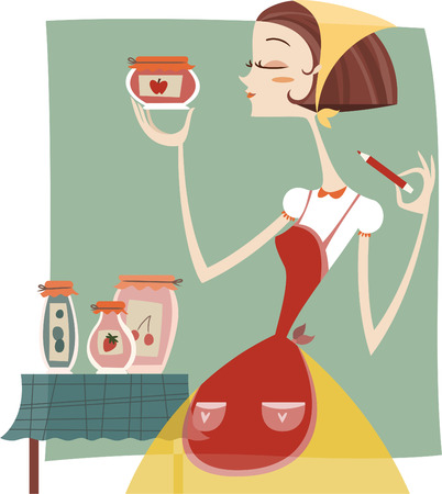 Woman labeling her home made jelly marmalade vector cartoon illustration, Çizim