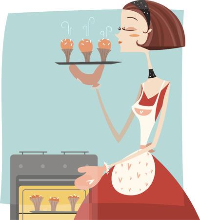baking oven: retro woman Baking muffins. Illustration