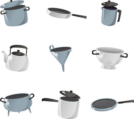 stainless steel pot: Kitchenware icon collection. Illustration
