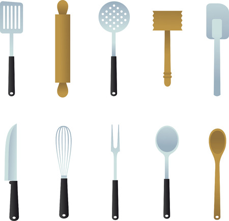 Kitchen Utensil collection, with ladle, potato masher, turner, spatula, draining spoon, skimmer, wooden spoon, whisk, pastry brush, rolling pin, wooden hammer,plastic spatula, spatulas, fork, knife. Vector illustration cartoon.