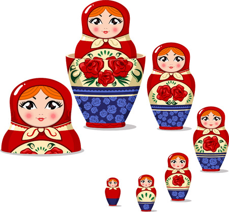doll: Matryoshka doll Russian nesting doll set vector illustration.