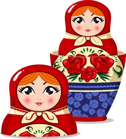 decreasing in size: Matryoshka bambola russa nesting doll illustrazione vettoriale aperto.