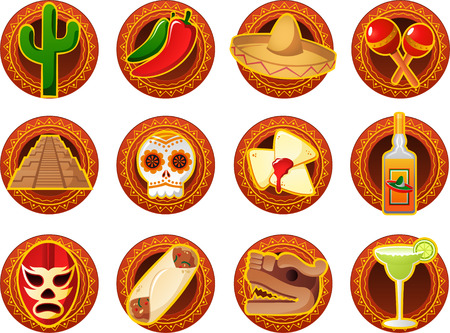 Mexican icon set, with green cactus, Chili pepper, Mariachi Mexican hat, Maracas, Pyramids, Skeleton, skull, Quesadillas, Tequila, Mask, taco, Mayan sculpture and Margarita Drink. Illustration