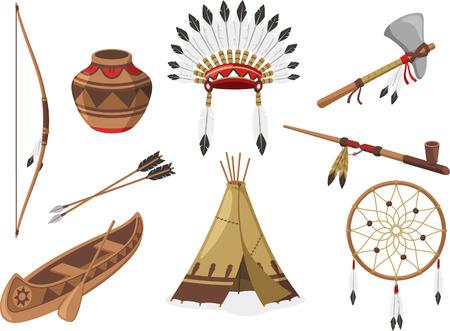 Amerikaanse inheemse Indische Inheemse Natives volksstammen, vector illustratie cartoon.