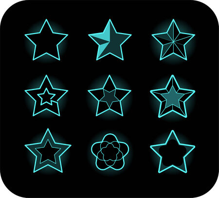 neon star icons Imagens - 33828873