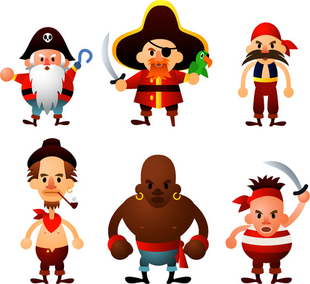 period costume: Cute pirate ship crew cartoon character set.