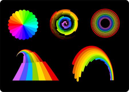 front or back yard: Rainbows set vector illustration collection. Illustration