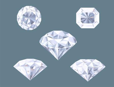 diamond shaped: Sparkling Diamond Shaped Jewelry Shiny Crystal Precious Gem Jewel Set vector illustration. Illustration