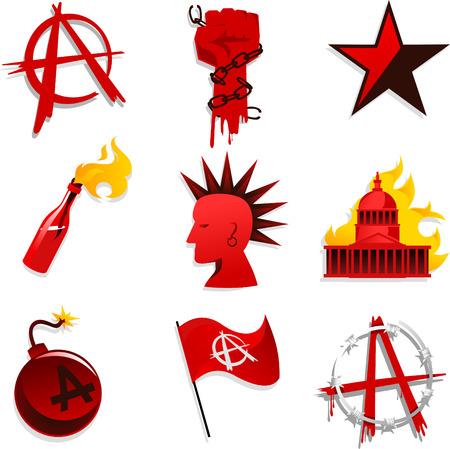 Anarchy Set Red Black Star Chain Hand and Bomb Flag vector Illustration icons Vettoriali