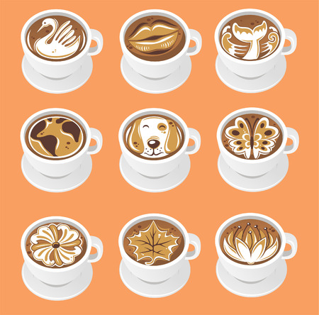 latte art vector leuke illustraties.