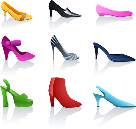 heeled: Shoes icon collection. Illustration
