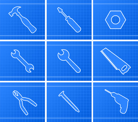 gimlet: Working Tools Icons vector illustration, with hammer, screwdriver, nut, screw, saw, drill, auger, gimlet, drill hole, bolt, pliers, tongs, pincers, pincer, vector illustration cartoon.