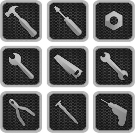 tongs: Herramientas de trabajo iconos ilustraci�n vectorial, con el martillo, destornillador, tuerca, tornillo, sierra, taladro, taladro, Barrena, taladro, perno, tenazas, pinzas, tenazas, pinzas, ilustraci�n vectorial de dibujos animados.