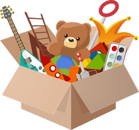 verhuis dozen: Toy Box, met Teddybeer, Gitaar, Bal, Aquarel, clown, robot. Vector illustratie cartoon. Stock Illustratie
